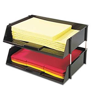 Industrial Stacking Tray Set, Two Tier, Plastic, Black