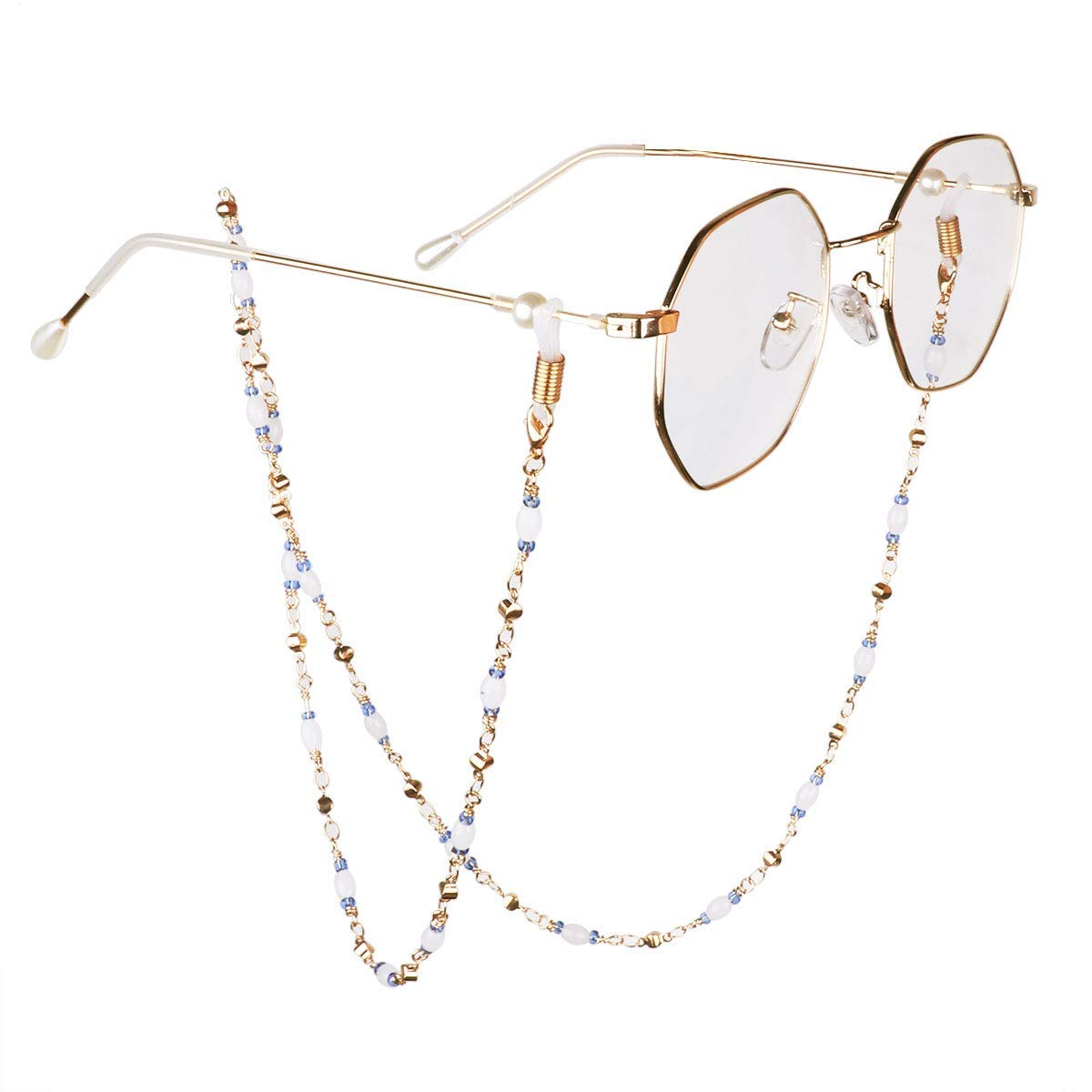 8d324b70c2a Get Quotations · YiZYiF Eyeglass Chain Fashion Beaded Gold Sunglasses  Necklace Strap Holder Non-slip Reading Glasses Cords
