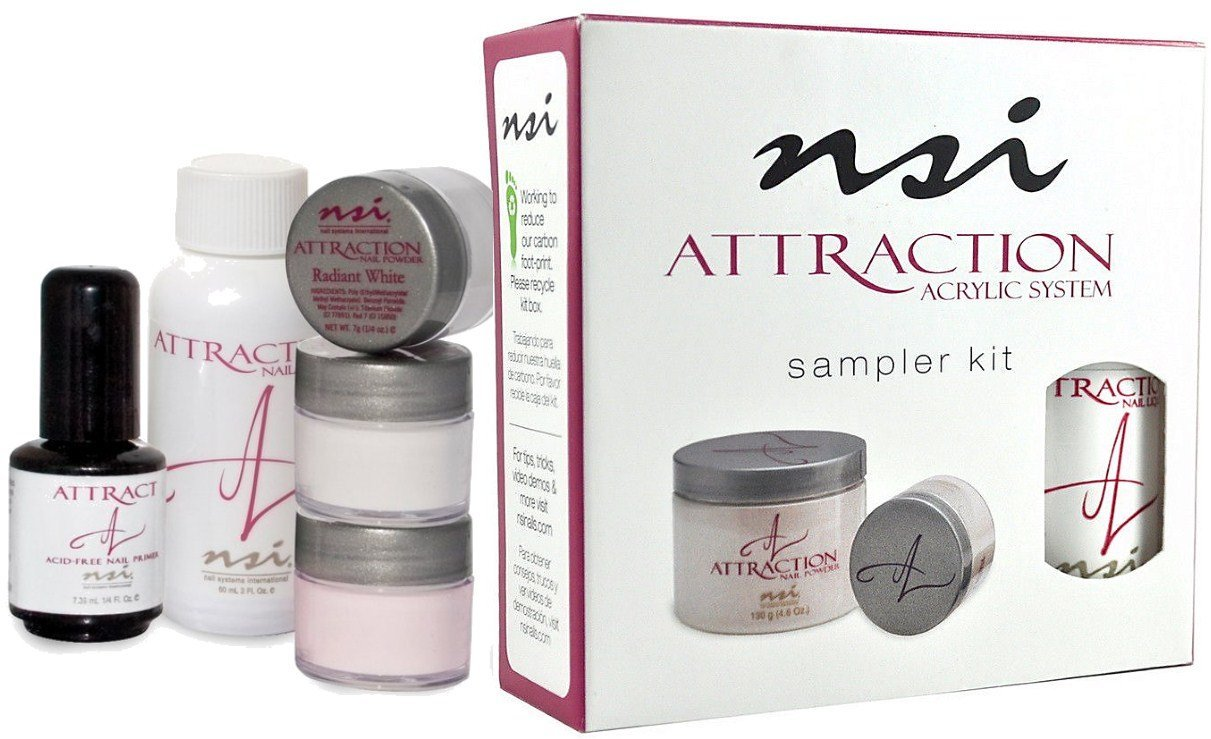 nsi Attraction Nail Acrylic System Sampler Kit (Attraction Nail Liquid,Radiant Pink+White+Totally Clear Nail Powder,Attract (Acid-Free) Primer)