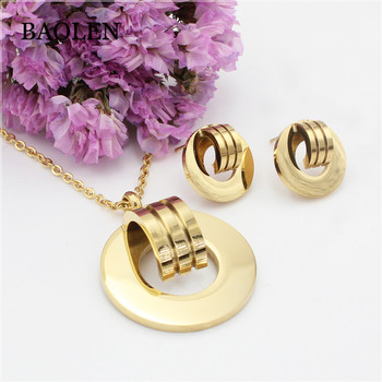 Costume African Italian Fashion Women Light Gold Plated Jewelry Sets Round Buckle Jewelry Set Earrings Pendant Necklace Set