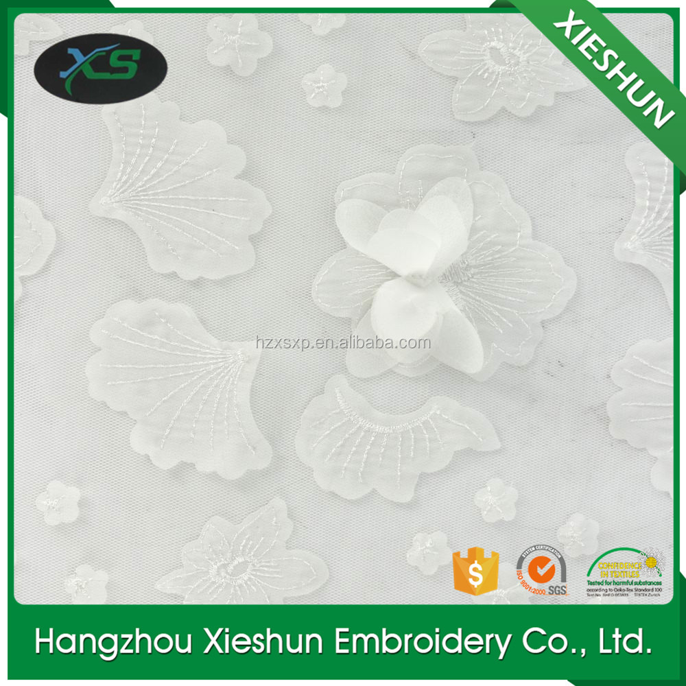 Fashion wedding 3 d laser cut butterfly embroidery lace fabric design for beautiful dress