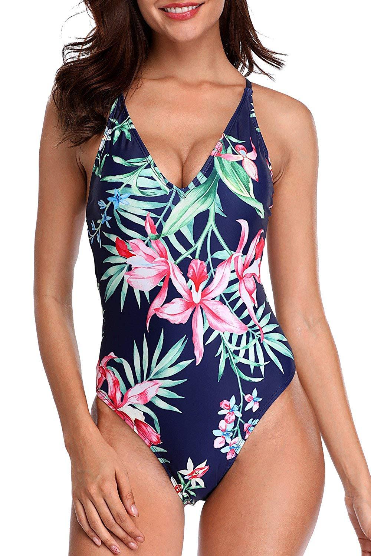 Sociala Women's Deep V One Piece Swimsuit Lace Up Back Bathing Suit Swimwear