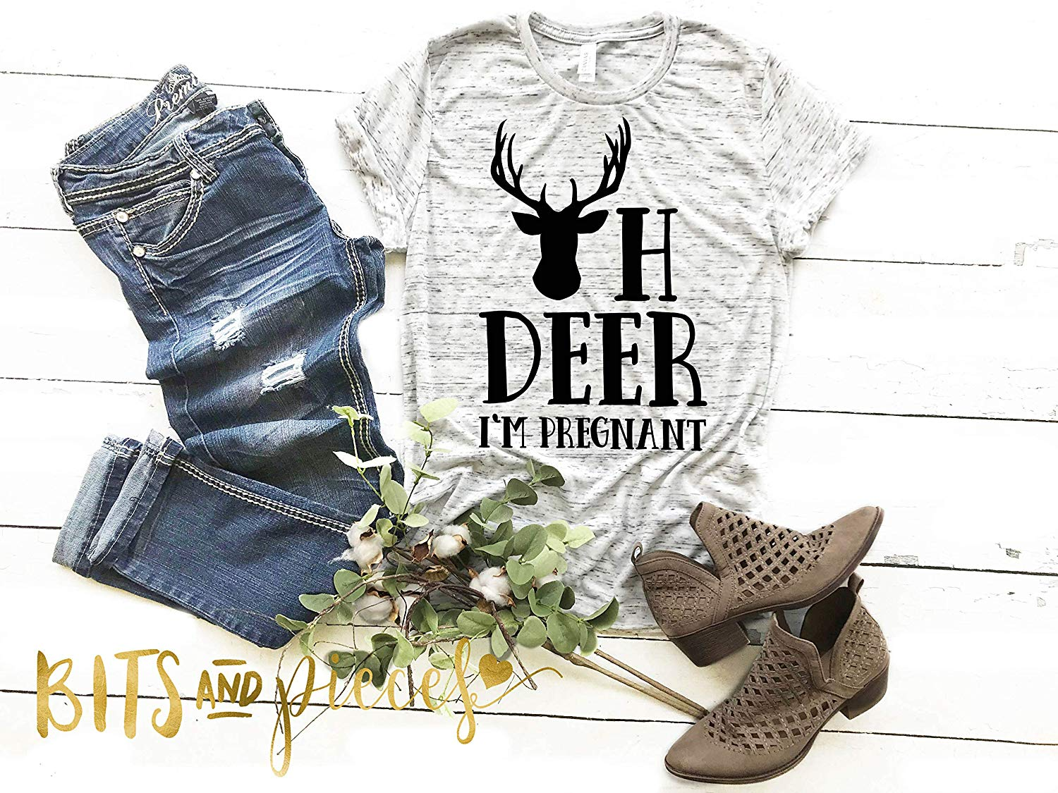 d0cf96abca844 Get Quotations · Oh Deer I'm Pregnant - Cute Tee - Pregnant AF Graphic Tee,  Pregnancy