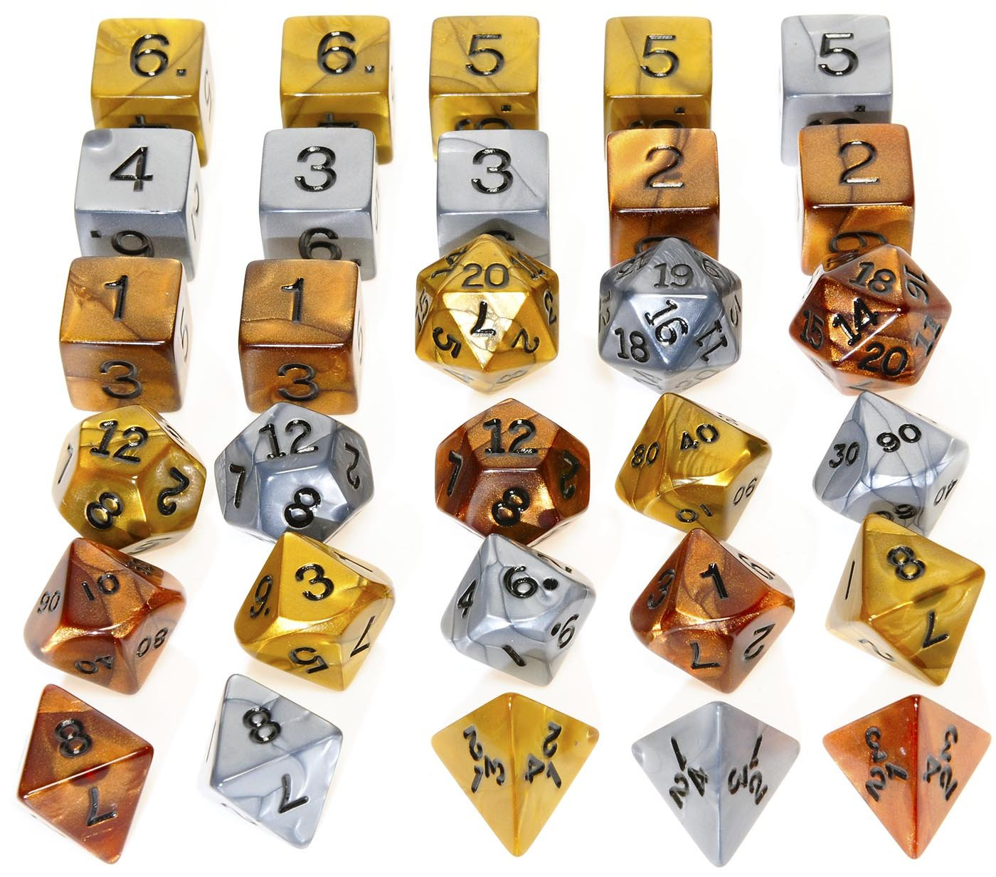 Gold, Silver Bronze Polyhedral Dice _ Set of 30 Dice