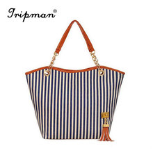 Cathylin Free Shipping Wholesale Factory Women Handbags New Fashion Strip Hot Sale Ladies Big Canvas Tote Bag