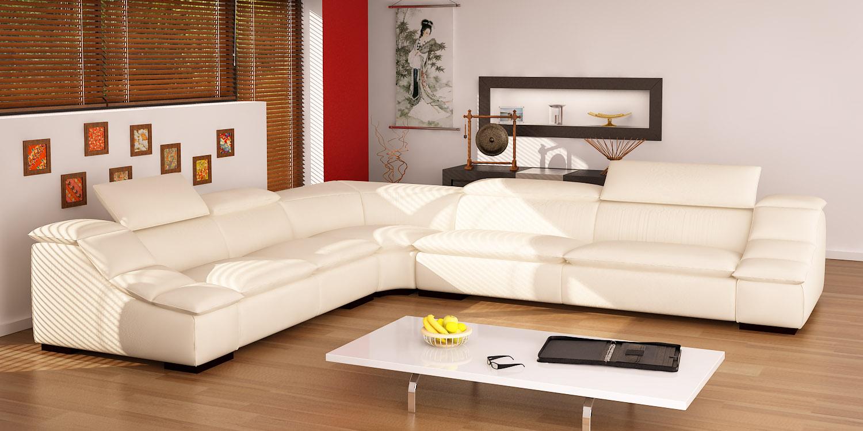 Heated Living Room Furniture L Shaped White Sofa India Flavour ...