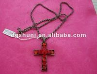 Cross necklace with gun color plated