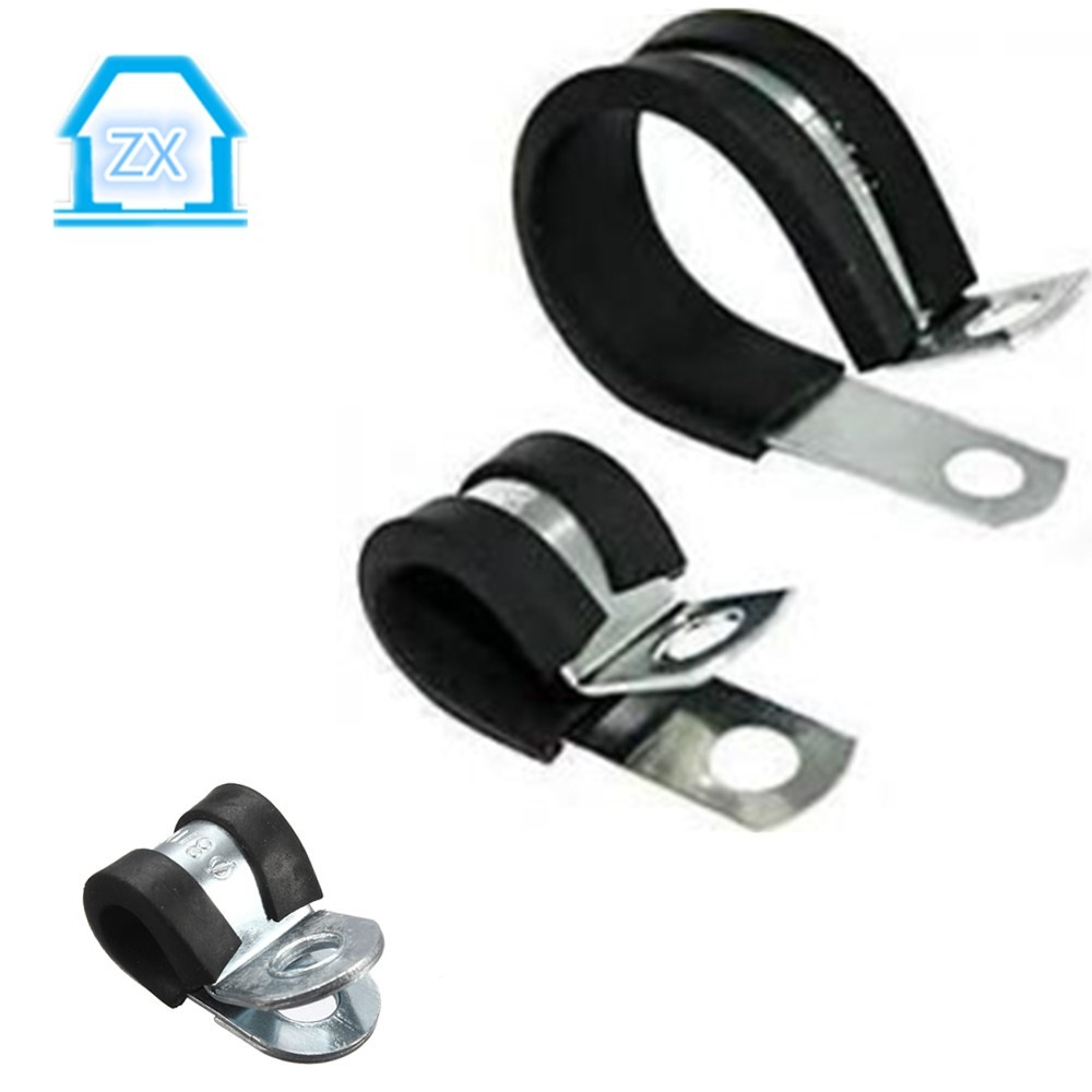 Flexible Rubber P Type Coated Metal Belt Round Clamps