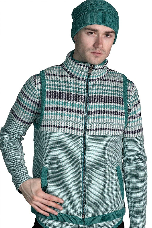 4228af640dc68f Get Quotations · REVOLUTION NOW Men s Knitted Plaid Chervon Pattern  Reversible Puffer Vest Sweater