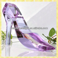 Imitation Luxurious Purple Crystal Wedding Shoe For Bride Souvenir Gifts