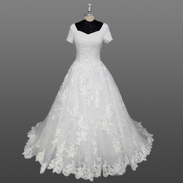 Latest Designs Wedding Gown Short Sleeve Muslim White Lace Wedding Gowns With Applique
