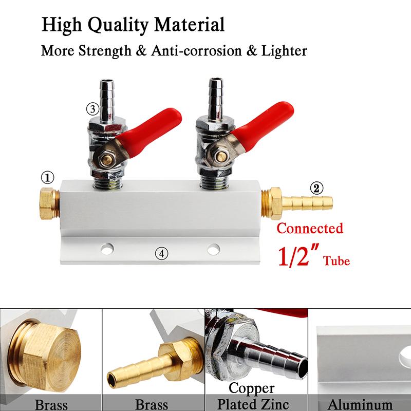 Aluminum Beer Gas Manifold Distribution CO2 Beer Splitter 2 Way//3 Way //4 Way