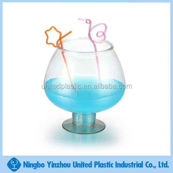 1400ml Pvc Plastic Drinking Cups Fish Bowl With Handle