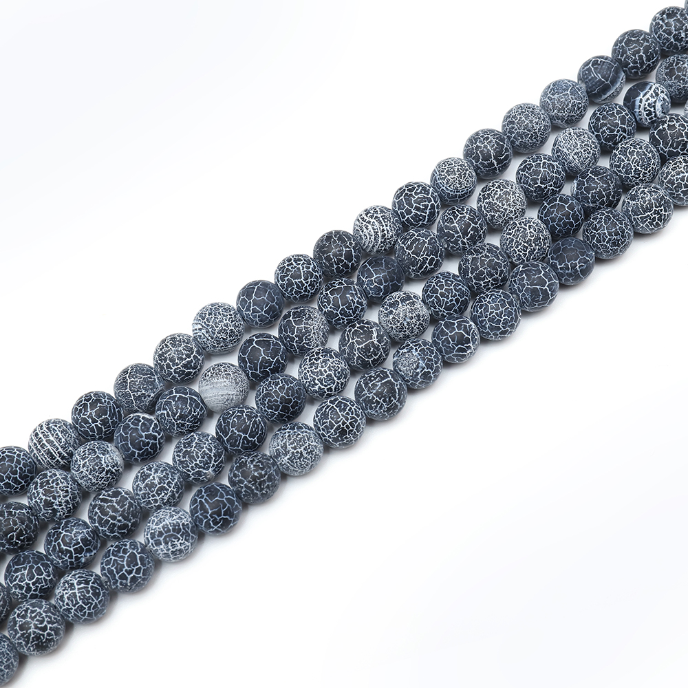Hot Product 13 Colors 8mm Black Veins Agate Gems Loose Beads Strands Accessories Beads for Jewelry Making
