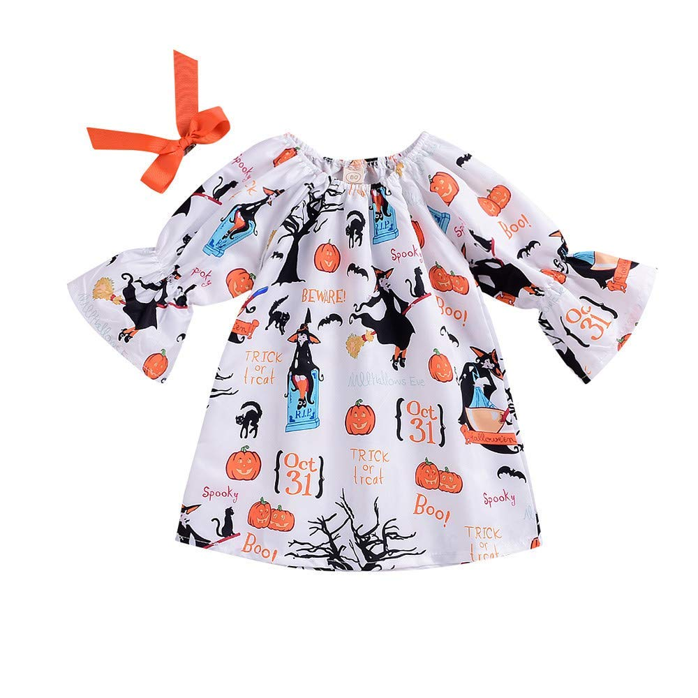Baby Girls Halloween Dress,Toddler Kids Cartoon Pumpkin Bow Princess Dress Outfits (White, Recommended Age:24 Months/Label Size:90)