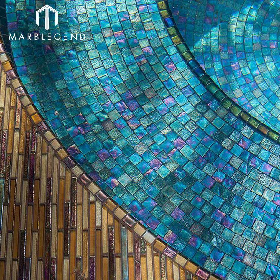 Cheap price swimming pool tiles blue glass mosaic manufacturer