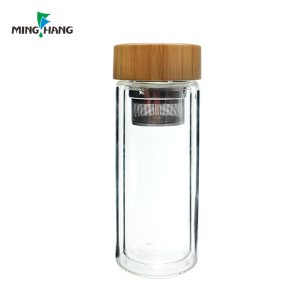wholesale BPA-FREE 500 ml borosilicate double wall flask water sport shaker glass bottle