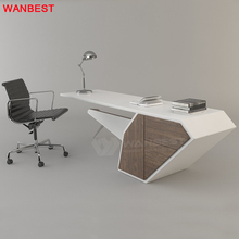 Luxury Solid Surface Wooden White Ceo Executive Office Computer Desk Home Working Table