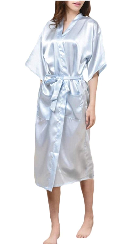 b33e17821e Get Quotations · Gocgt Womens Satin Silk Kimono Robe Short Dressing Gown  Sleepwear