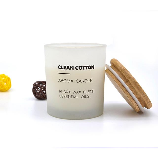 컬러 파라핀/간장 왁스 유리 향기로운 기능 촛불 bougie 젖빛 촛불 항아리 대나무 뚜껑