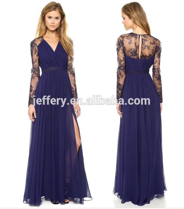 Wholesale Elegant evening gown lace top two pieces evening dress ...