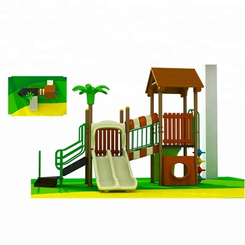 Small Kid's Plastic Playground Slide And Swing Set
