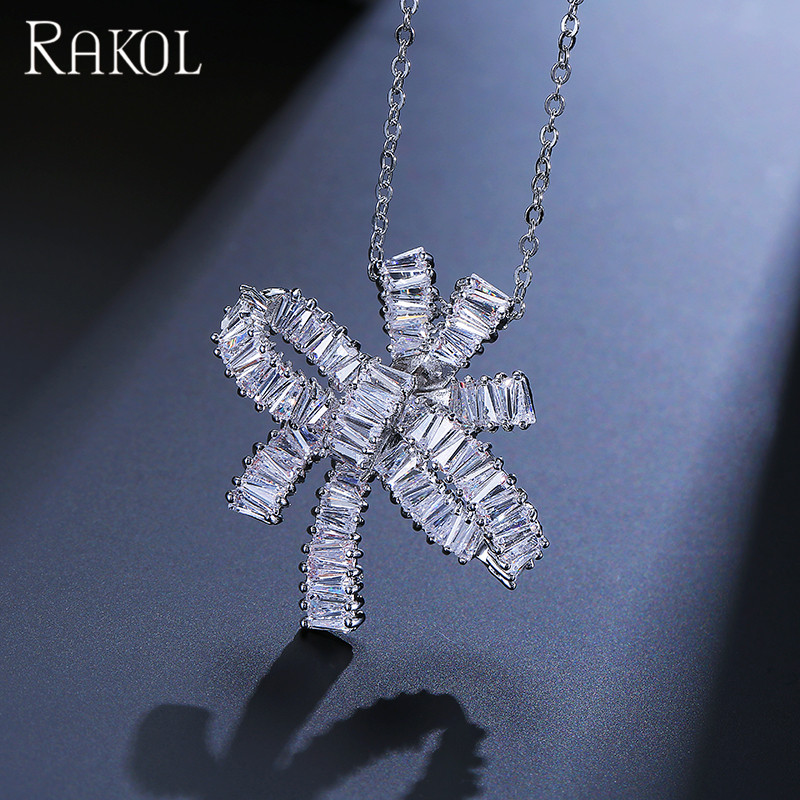 Top brand shiny zircon stone butterfly bowknot bow tie rosette pendant chain necklace N025