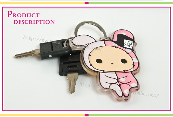Tokoh kartun lucu plastik penuh warna keychain gantungan kunci akrilik  plastik bening ede0385f6331