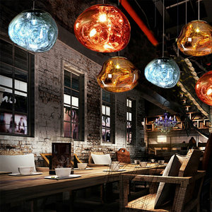 Decorative 220v Chandeliers Pendant Ceiling Lights Copper E27 LED Glass Ball Pendant Lamp