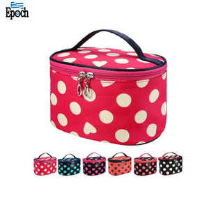 Girls dots portable organizing cosmetic makeup bag with mirror