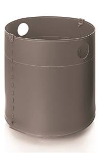 GIRO: Firewood Basket in leather Anthracite color, firewood storage, firewood logs, firewood holder, firewood rack.