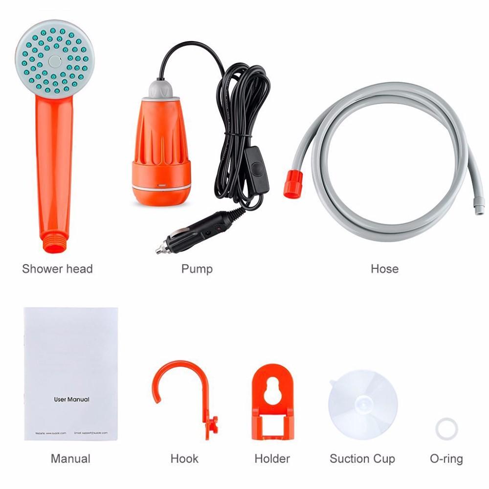 Alert Camping Shower Portable Shower Set Usb Car Shower Dc 12v Pump Pressure Shower Outdoor Camp Ducha Camping Pet Car Washer Water Bags