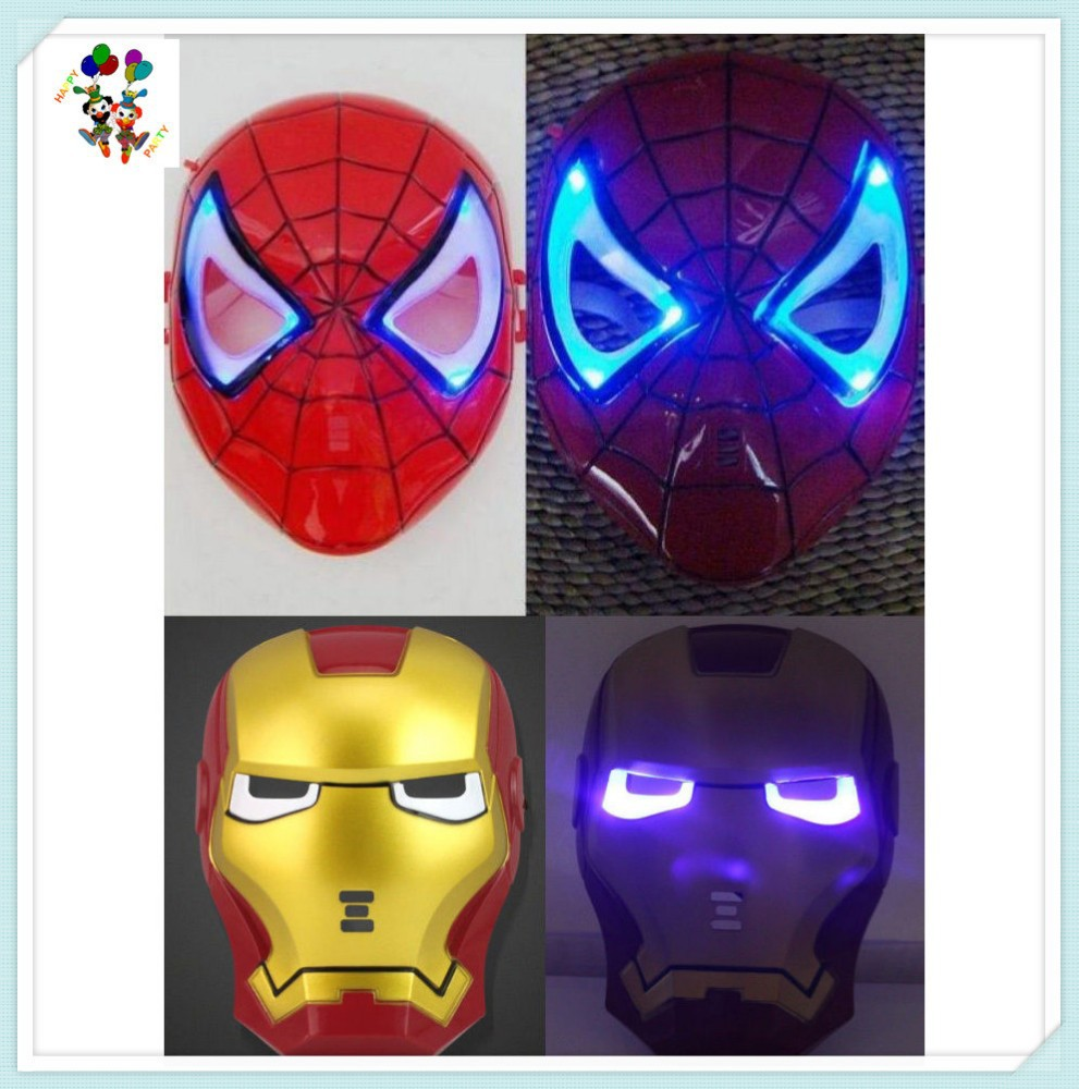 Cartoon Cool Spiderman Ironman Children Face Led Light Masks HPC-0418