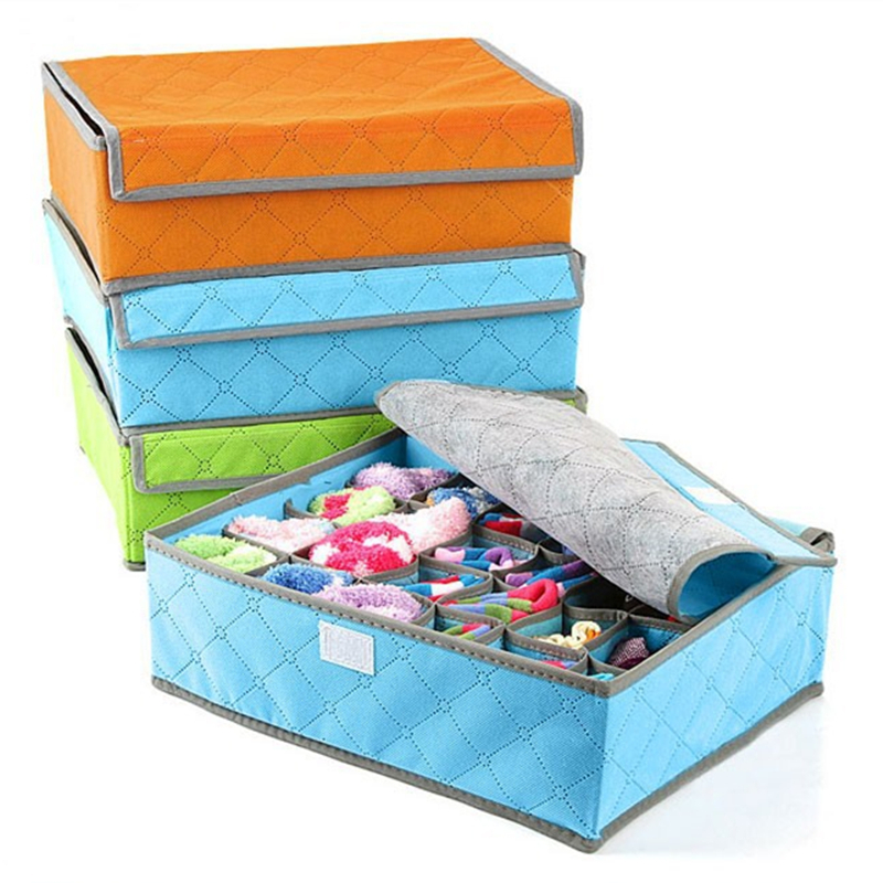 Home Storage Boxes For Underwear Socks Ties Bra Closet Divider Storage Box With Cover Organizer Container