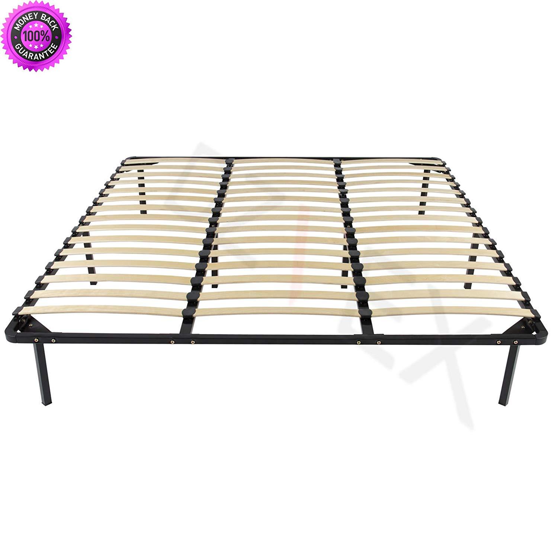 DzVeX Wooden Slat Metal Bed Frame Wood Slats Platform Bedroom Mattress Foundation King And king bed frame beds queen bed frame with storage king size bed full size bed platform bed full size