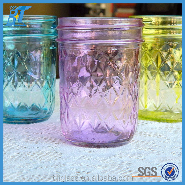 8oz colored embossed vintage mason jar glass with cap