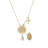 Gorgeous Tassel Medal 18K Gold Plated Sunflower Necklace Silver 925 Sideway Cross Necklaces Pearl Jewellery Women A134A