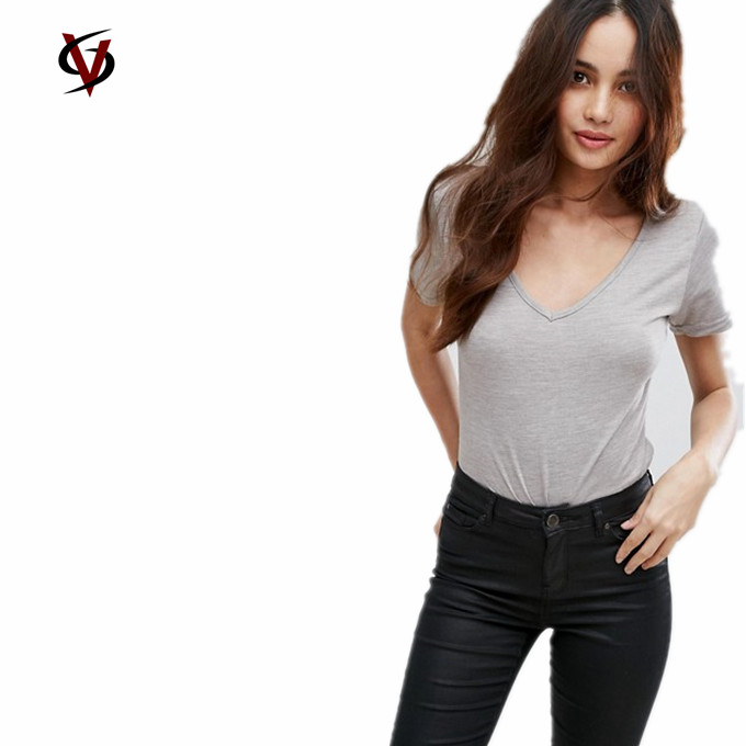 Top Quality T-shirts Fashion Ladies/Girls Clothes Grey V Neck Cheap T-shirts Wholesale Plain 100% Cotton T Shirts For Woman