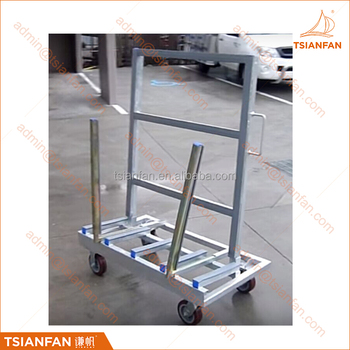 Galvanised One Side Glass and Stone Slab A Frame Trolley Rack