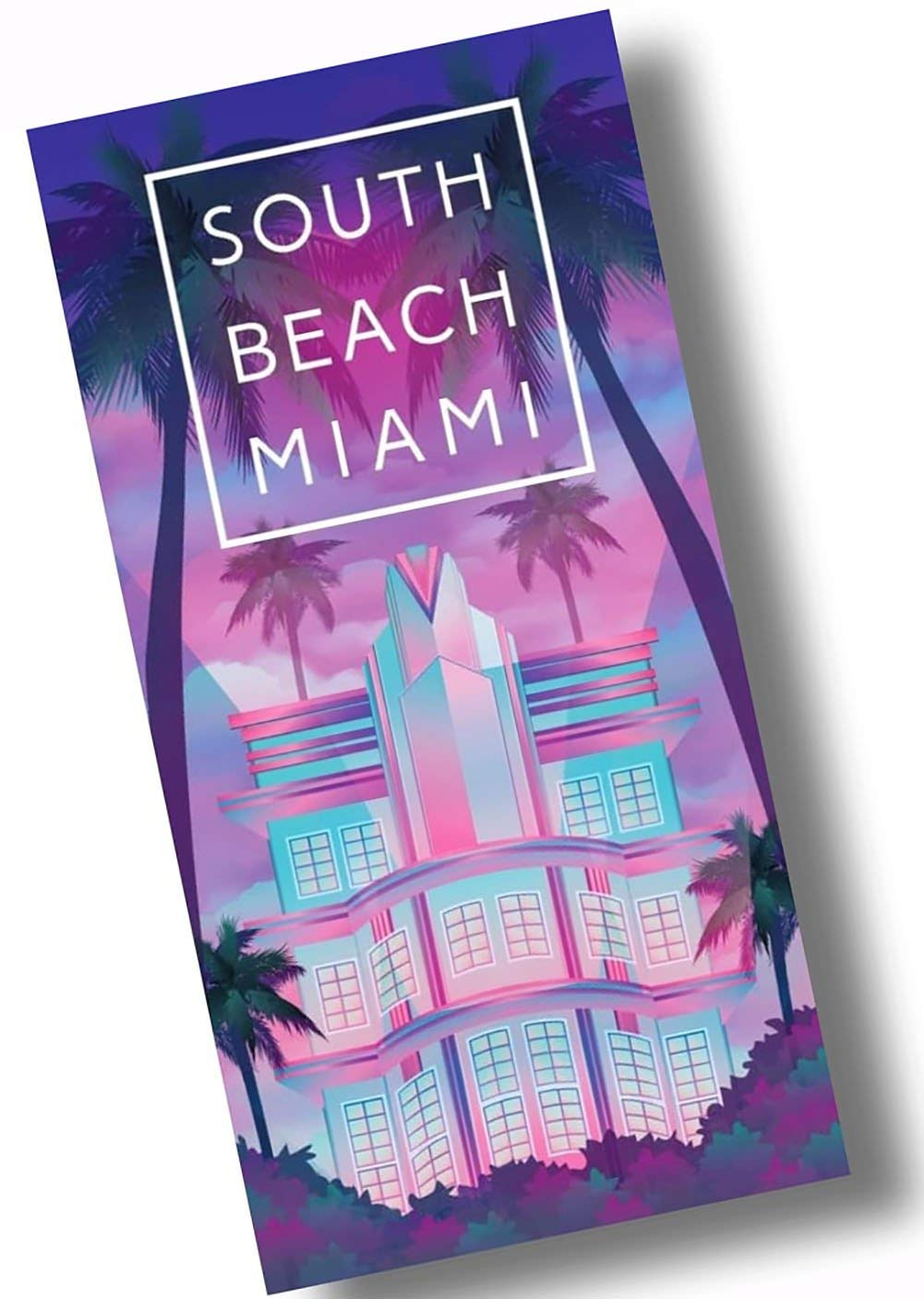 "Custom & Luxurious {30"" x 60"" Inch} 1 Single Large & Thin Soft Summer Beach & Bath Towels Made of Quick-Dry Cotton w/ Citiscape Tropical Vibes South Beach Miami Souvenir Style [Multicolor]"