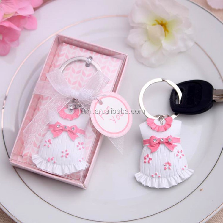 Cute Pink Girl Dress Key Chain baby shower favors gifts <strong>decorations</strong>