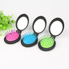 Hot Sale Mini Size Air Cushion Round Shape Folding Hair Massage Brush with Mirror