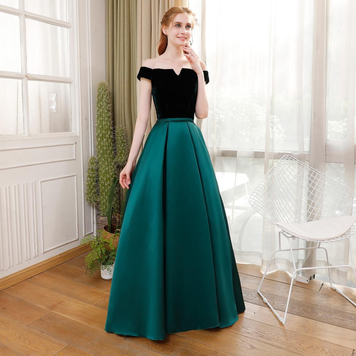 Simple And Elegant Wedding Dresses Boat Neck Three Quarter: Fashion Banquet Simple Elegant Evening Dress Bride Boat