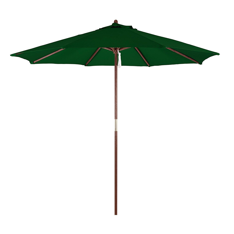 California Umbrella 9' Round Hardwood Frame Market Umbrella, Pulley Lift, Polyester Hunter Green