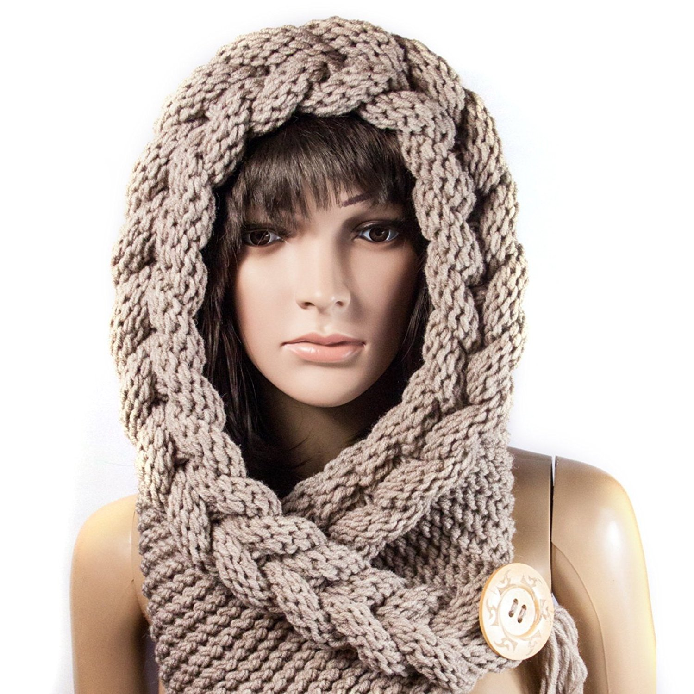 bbdc03b0b36 Get Quotations · Handmade Hoded scarf Warm scarf Christmas Gift Hood Chunky  scarf Acrylic cowl
