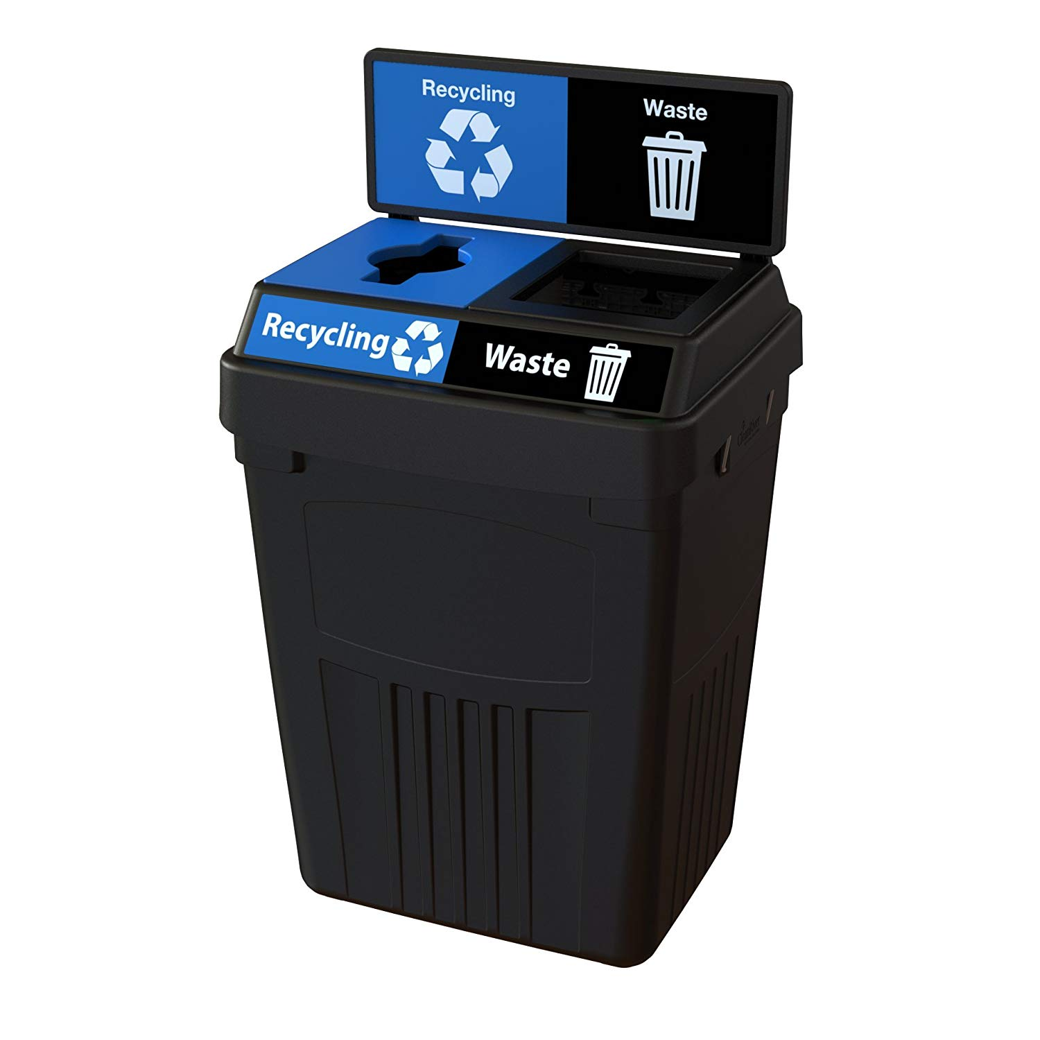 CleanRiver Flex E bin. Indoor and outdoor sturdy 2-in-1 waste and recycling bin with back board. Collect 2 separate waste streams in one bin. 50-gallon-Black (FX50B-BK2-R-W)