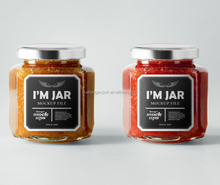 New mould glass jam jar with tin lid and label 150ml 200ml