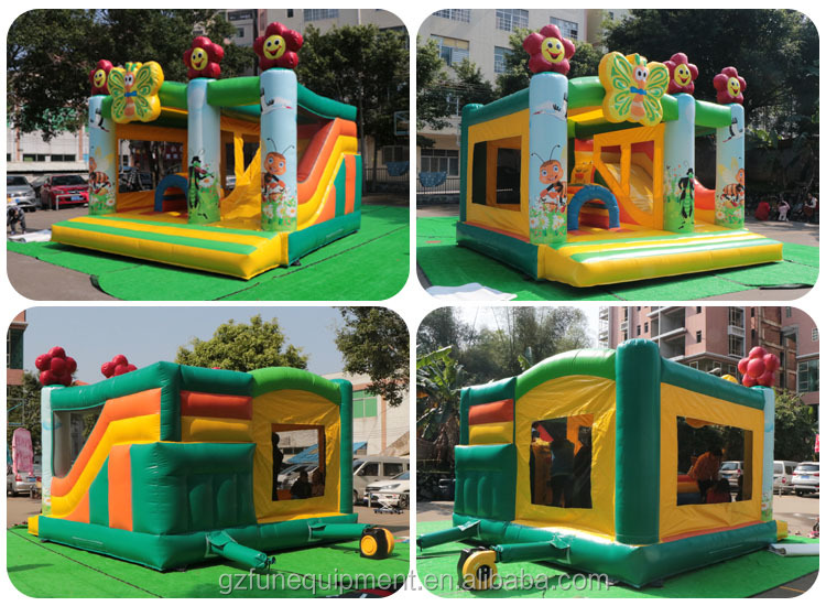 Commercial cheap indoor jungle bouncy house carton inflatable castle with slide kids bounce house For kids and adult