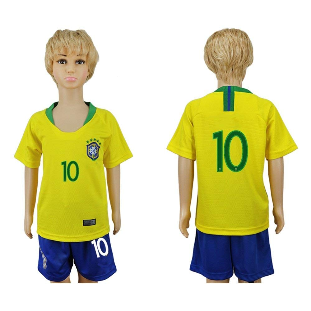 e04fb63184b Get Quotations · Muzuly 2018 Word Cup Brazil Football Team  10 Kids Home  Short Sleeve Soccer Jersey