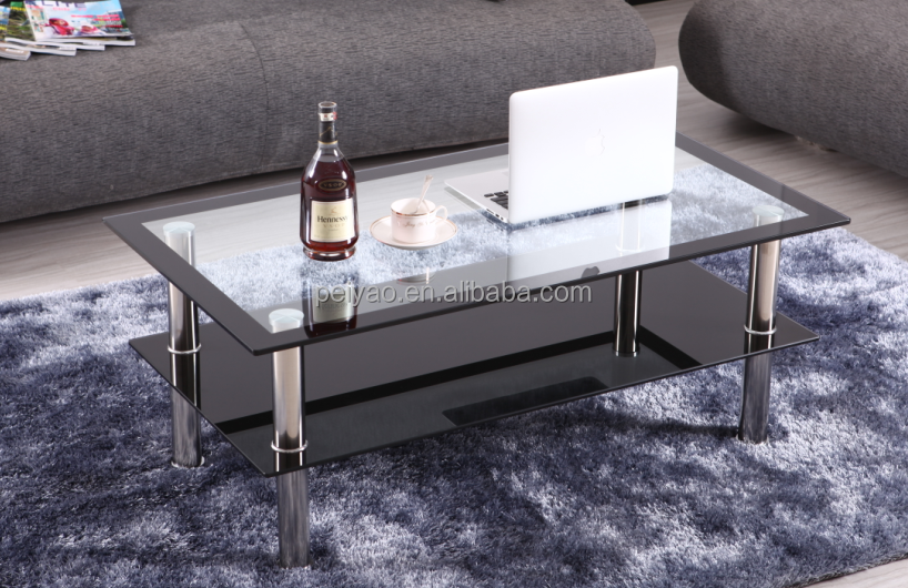 Modern Cheap Tempered Glass Coffee Table/Two Layers Coffee Table